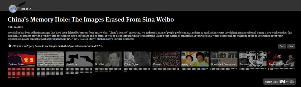 """En esta aplicación, desarrollada por Sisi Wei, se recolectaron imágenes que fueron eliminadas del Sina Weibo, el """"Twitter de China"""", desde mayo de 2013. Un equipo de personas con manejo de mandarín leyeron e interpretaron las 527 imágenes borradas que sirvieron como lente para comprender mejor cómo funciona la censura en China."""